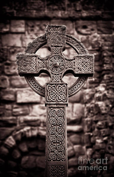Stone Carving Wall Art - Photograph - Celtic Cross Lindisfarne Priory by Tim Gainey