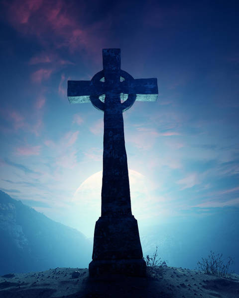 Desolate Photograph - Celtic Cross With Moon by Johan Swanepoel