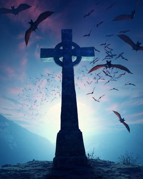 Light Blue Photograph - Celtic Cross With Swarm Of Bats by Johan Swanepoel