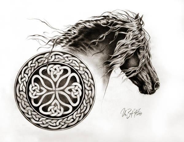 Friesian Drawing - Celtic Friesian by Art Imago