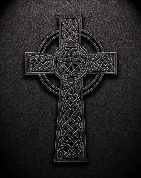 Digital Art - Celtic Knotwork Cross 1 Black Leather Texture by Brian Carson
