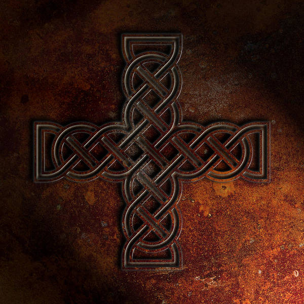Tribal Digital Art - Celtic Knotwork Cross 2 Rust Texture by Brian Carson