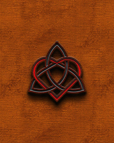 Sweetheart Digital Art - Celtic Knotwork Valentine Heart Canvas Texture 1 Vertical by Brian Carson
