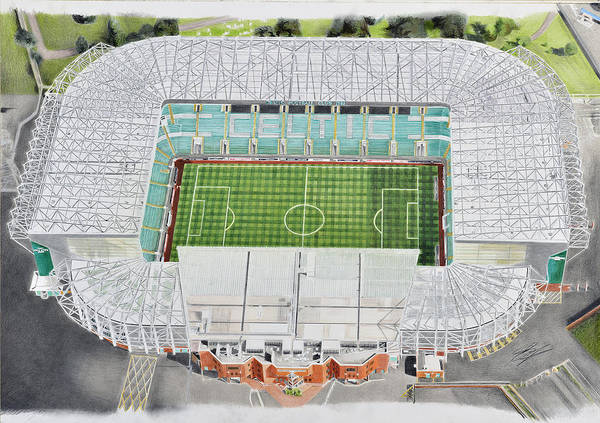 Wall Art - Painting - Celtic Park Stadia Art - Celtic Fc by Brian Casey