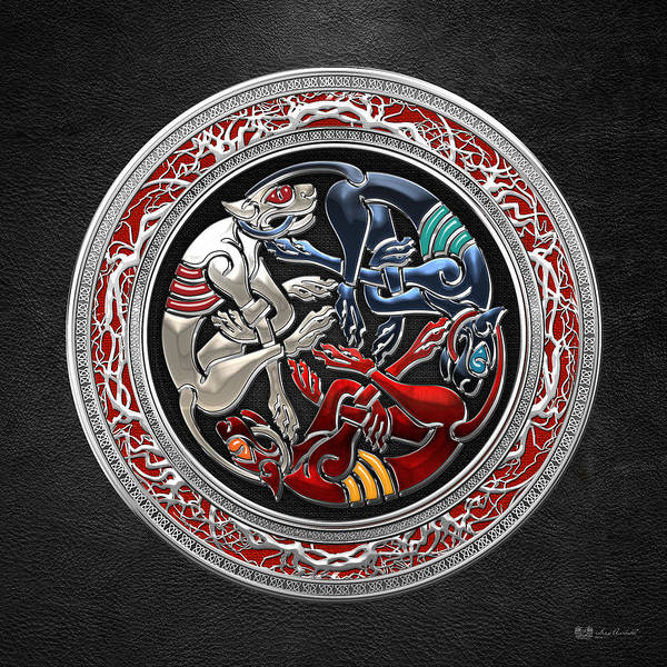 Digital Art - Celtic Treasures - Three Dogs On Silver And Black Leather by Serge Averbukh