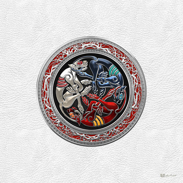 Digital Art - Celtic Treasures - Three Dogs On Silver And White Leather by Serge Averbukh