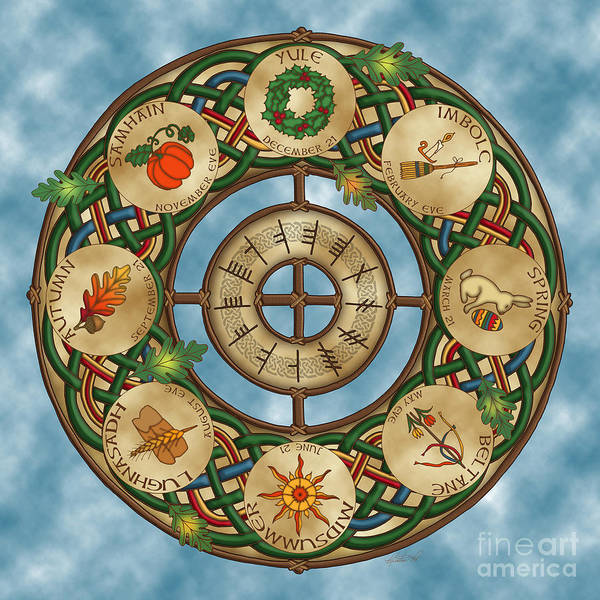 Mixed Media - Celtic Wheel Of The Year by Kristen Fox