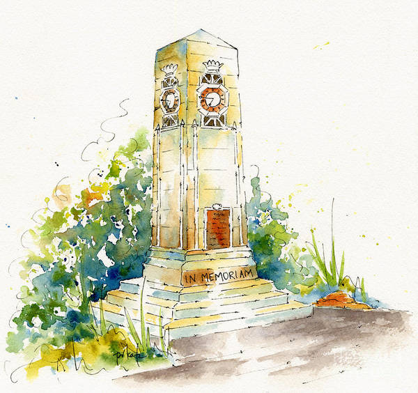 Painting - Cenotaph Clock Tower by Pat Katz