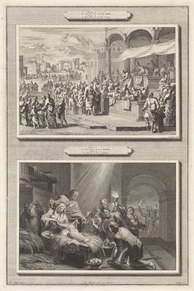 Bethlehem Drawing - Census At Bethlehem And The Adoration Of The Shepherds by Jan Luyken And Jacobus Baptist And Pieter Mortier