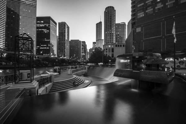 Photograph - Centennial Fountain In Black And White by Sven Brogren