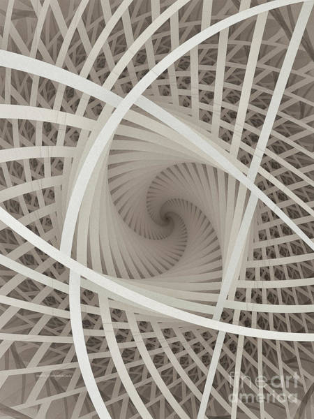 Three Dimensional Wall Art - Digital Art - Centered White Spiral-fractal Art by Karin Kuhlmann