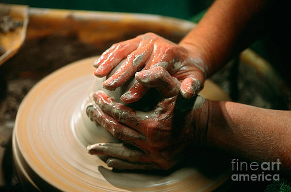 Potters Wheel Wall Art - Photograph - Centering Clay by James L. Amos