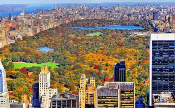 Midtown Manhattan Digital Art - Central Park And Manhattan In Autumn by Dan Sproul