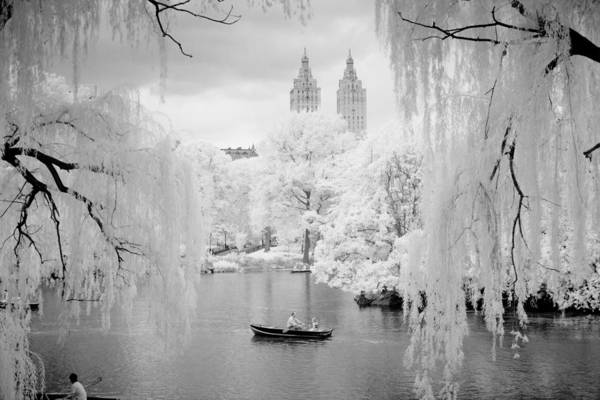 Central Park Lake-infrared Willows Art Print