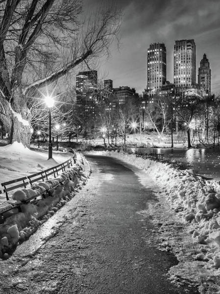 Photograph - Central Park Path Night Black & White by Michael Lee