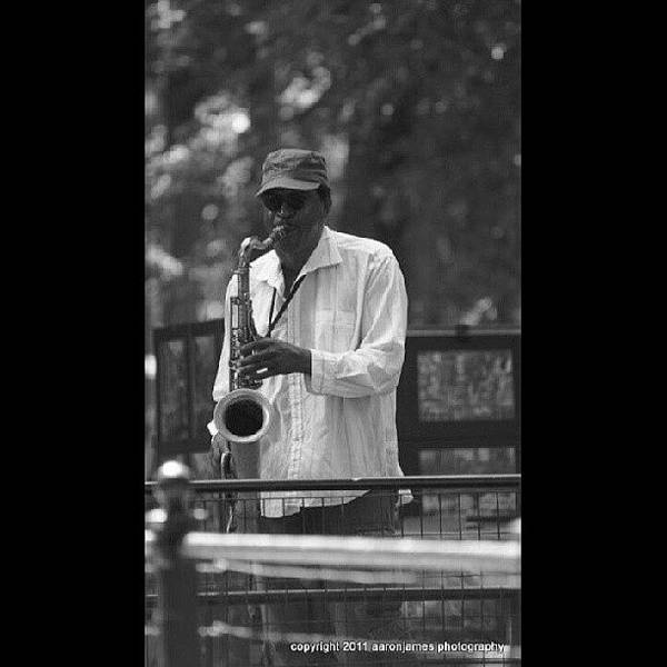 Musicians Wall Art - Photograph - Central Park Sax by Aaron Kremer