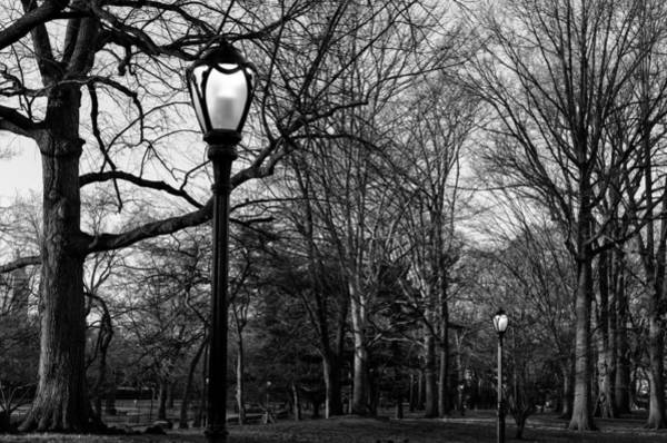 Photograph - Central Park Streetlamps In Black And White 2 by Marianne Campolongo