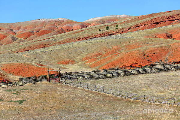 Photograph - Central Wyoming Hills With Fence by Carol Groenen