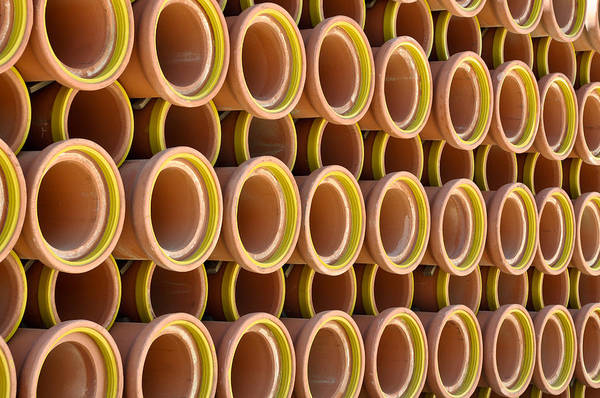 Canalization Photograph - Ceramic Sewer Pipes by Brandon Bourdages