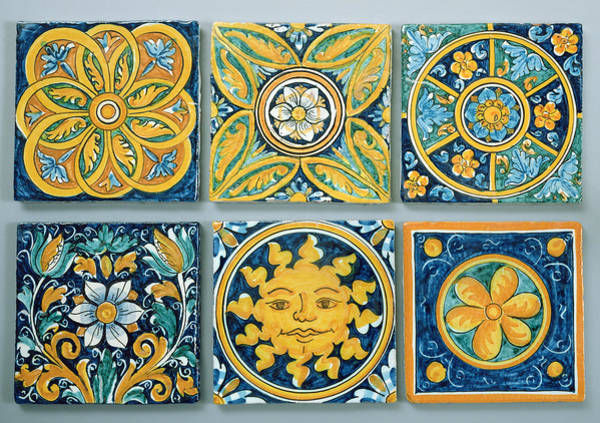 Wall Art - Photograph - Ceramic Tiles In The Typical Caltagirone Style Ceramic by Italian School