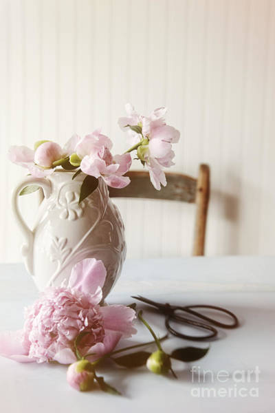 Photograph - Ceramic Vase With Peony Flowers In Kitchen by Sandra Cunningham