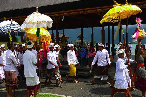 Ceremony At Lake Beratan Bali Art Print