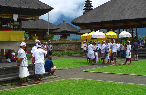 Ceremony Gathering At Beratan Bali Art Print