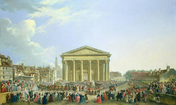Pantheon Wall Art - Photograph - Ceremony Of Laying The First Stone Of The New Church Of St. Genevieve In 1763, 1764 Oil On Canvas by Pierre-Antoine Demachy