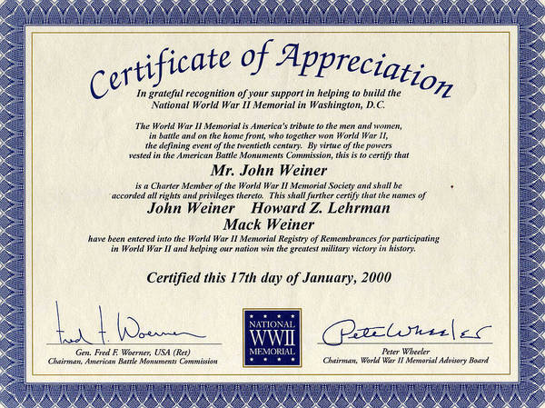 Photograph - Certificate Of Appreciation by Ericamaxine Price
