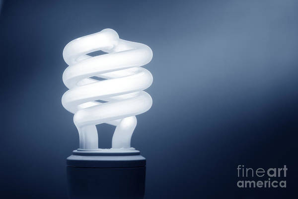 Energy-saving Wall Art - Photograph - Cfl Blue by Olivier Le Queinec
