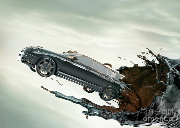 Crisis Photograph - Cgi Car Emerging From Crude Oil Vortex by Coneyl Jay