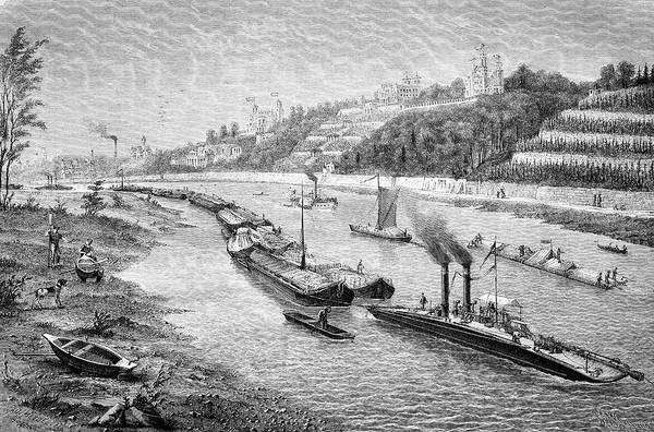Steam Boat Photograph - Chain Boat And Barges by Bildagentur-online/tschanz
