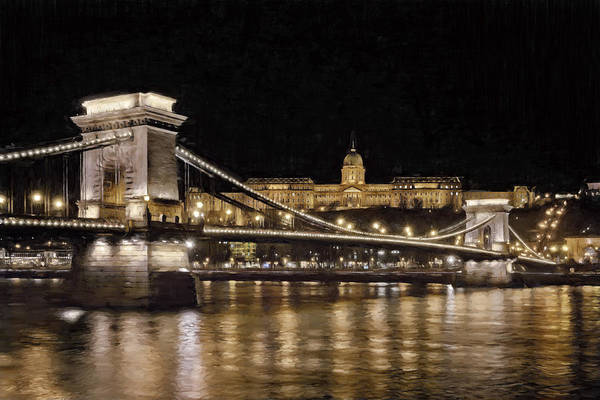 Chain Bridge And Buda Castle Winter Night Painterly Art Print