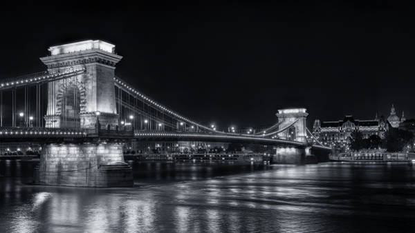 Chain Bridge Photograph - Chain Bridge Night Bw by Joan Carroll