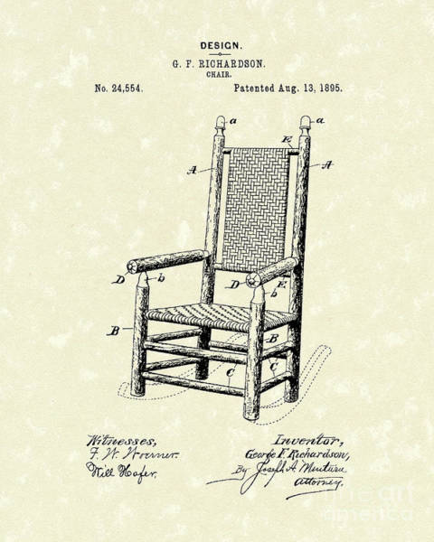 Drawing - Chair 1895 Patent Art by Prior Art Design