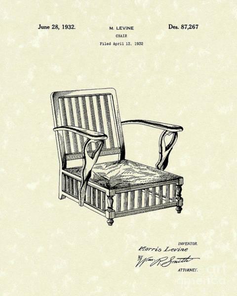 Chair Drawing - Chair 1932 Patent Art by Prior Art Design