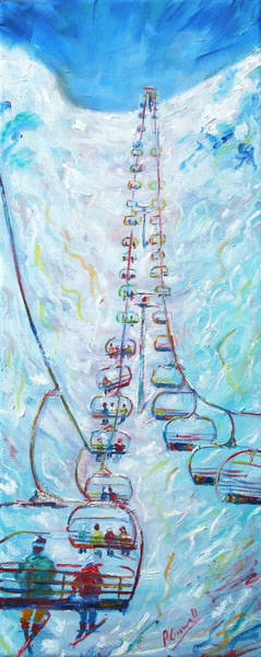 Snowboard Wall Art - Painting - Chair Lift by Pete Caswell