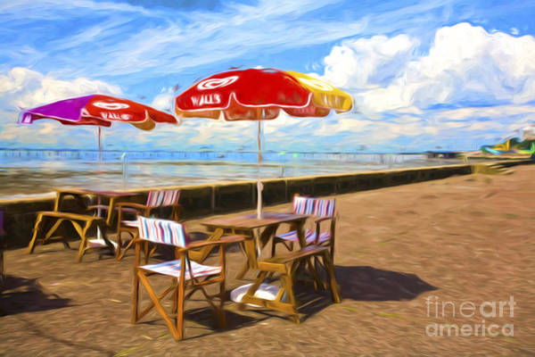 Southend Photograph - Chairs And Umbrellas At Southend On Sea by Sheila Smart Fine Art Photography