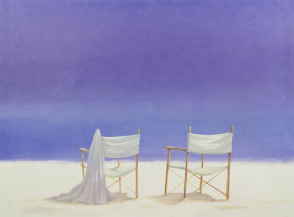 Dgt Wall Art - Photograph - Chairs On The Beach, 1995 Acrylic On Canvas by Lincoln Seligman