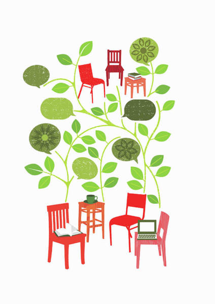 Dialogue Photograph - Chairs With Leaves And Speech Bubbles by Ikon Ikon Images