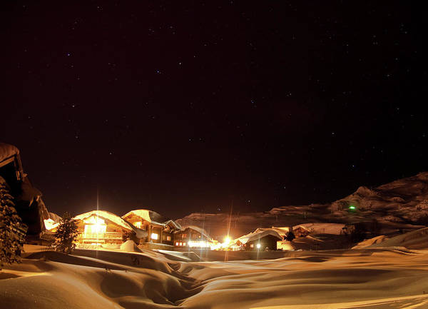 Chalet Photograph - Chalets In Snowy Landscape In The Alps by Artur Debat