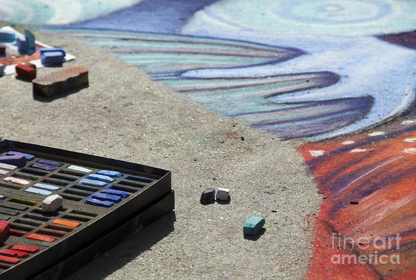 Photograph - Chalk Art Supplies On The Street by Juli Scalzi