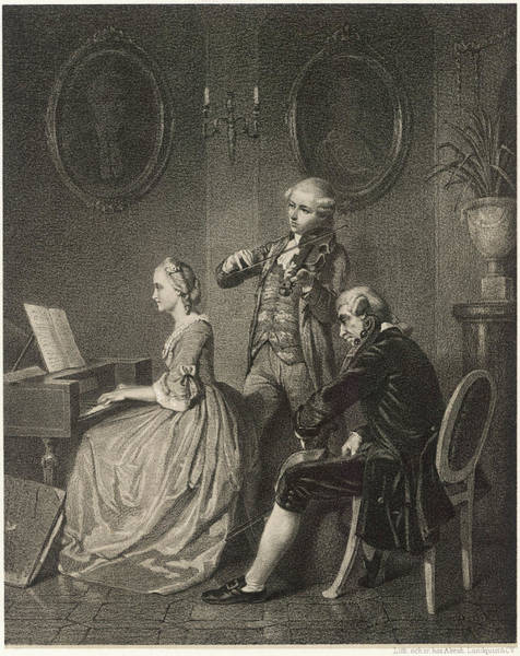 Trio Drawing - Chamber Music, A Trio For Harpsichord by Mary Evans Picture Library