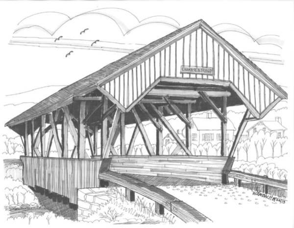 Drawing - Chamberin Mill Covered Bridge by Richard Wambach