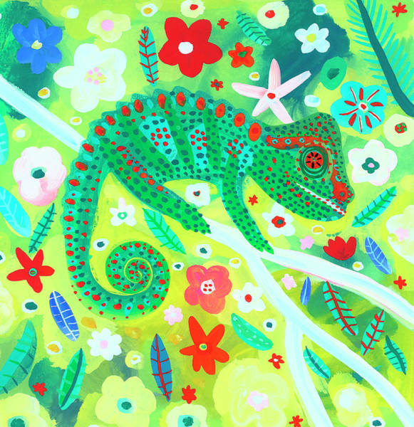 Digital Art - Chameleon Camouflaged In Foliage by Christopher Corr