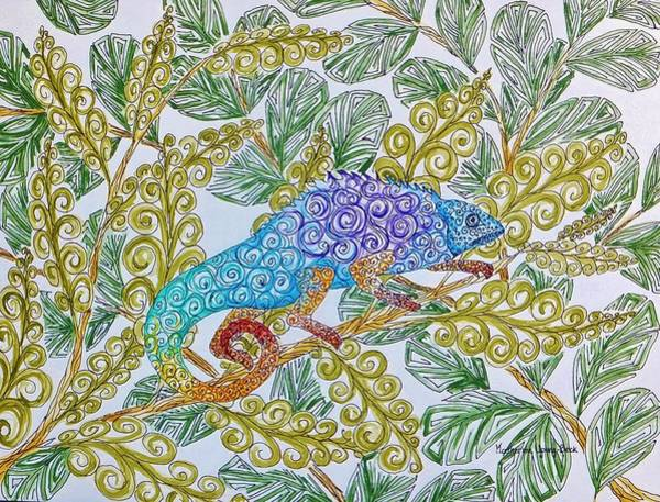 Wall Art - Painting - Chameleon by Katherine Young-Beck