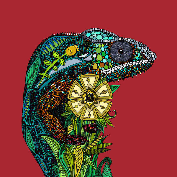 Exotic Drawing - Chameleon Red by MGL Meiklejohn Graphics Licensing