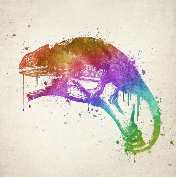 Lizards Digital Art - Chameleon Splash by Aged Pixel
