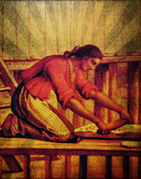 Mixed Media - Chamorro Woman Working by Michelle Dallocchio