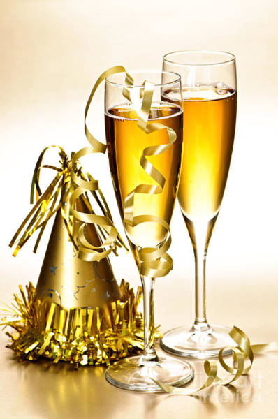 Wall Art - Photograph - Champagne And New Years Party Decorations by Elena Elisseeva